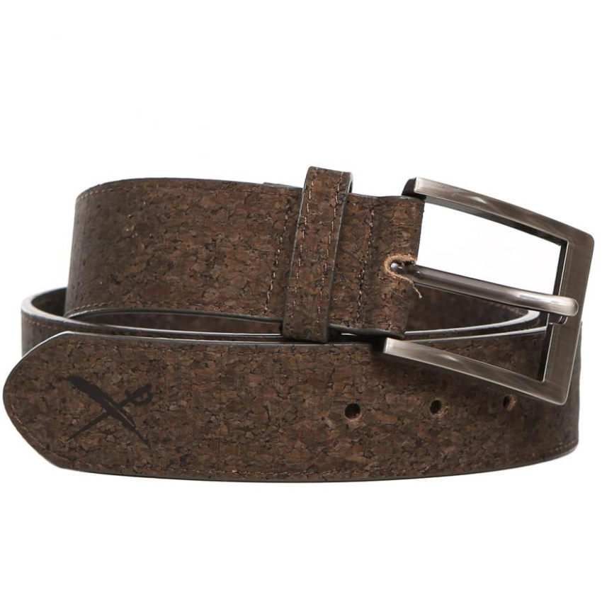 Cork Flag Belt Dark Brown