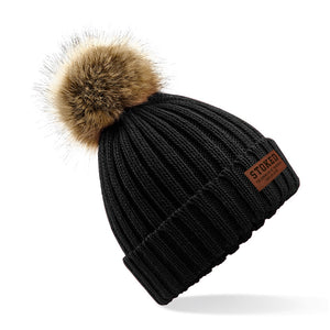 Womens Faux Fur Pom beanie Black