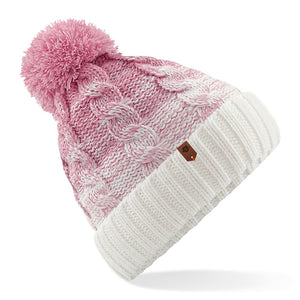Womens Special Blend Pom beanie Dusty Pink Offwhite