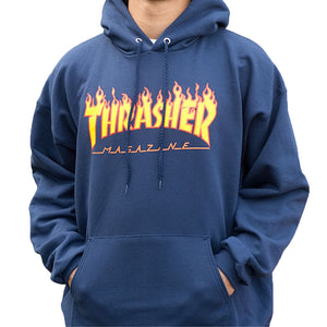 Flame logo hoodie navy blue - Stoked Boardshop