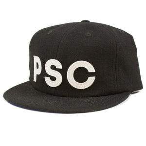 PSC Light Wool Leather Buckle 6-Panel Cap Black/Blue - Stoked Boardshop  - 1