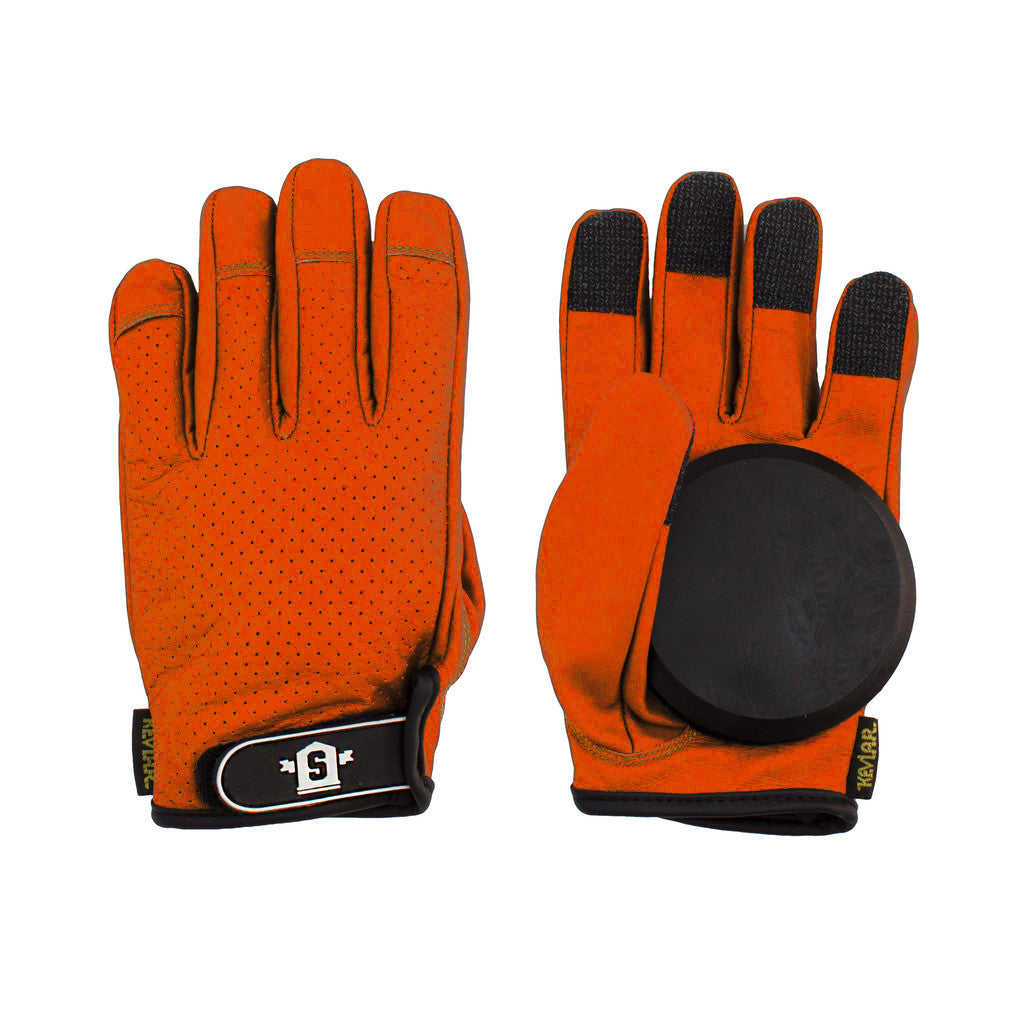 Lederen Slide Gloves Orange - Stoked Boardshop