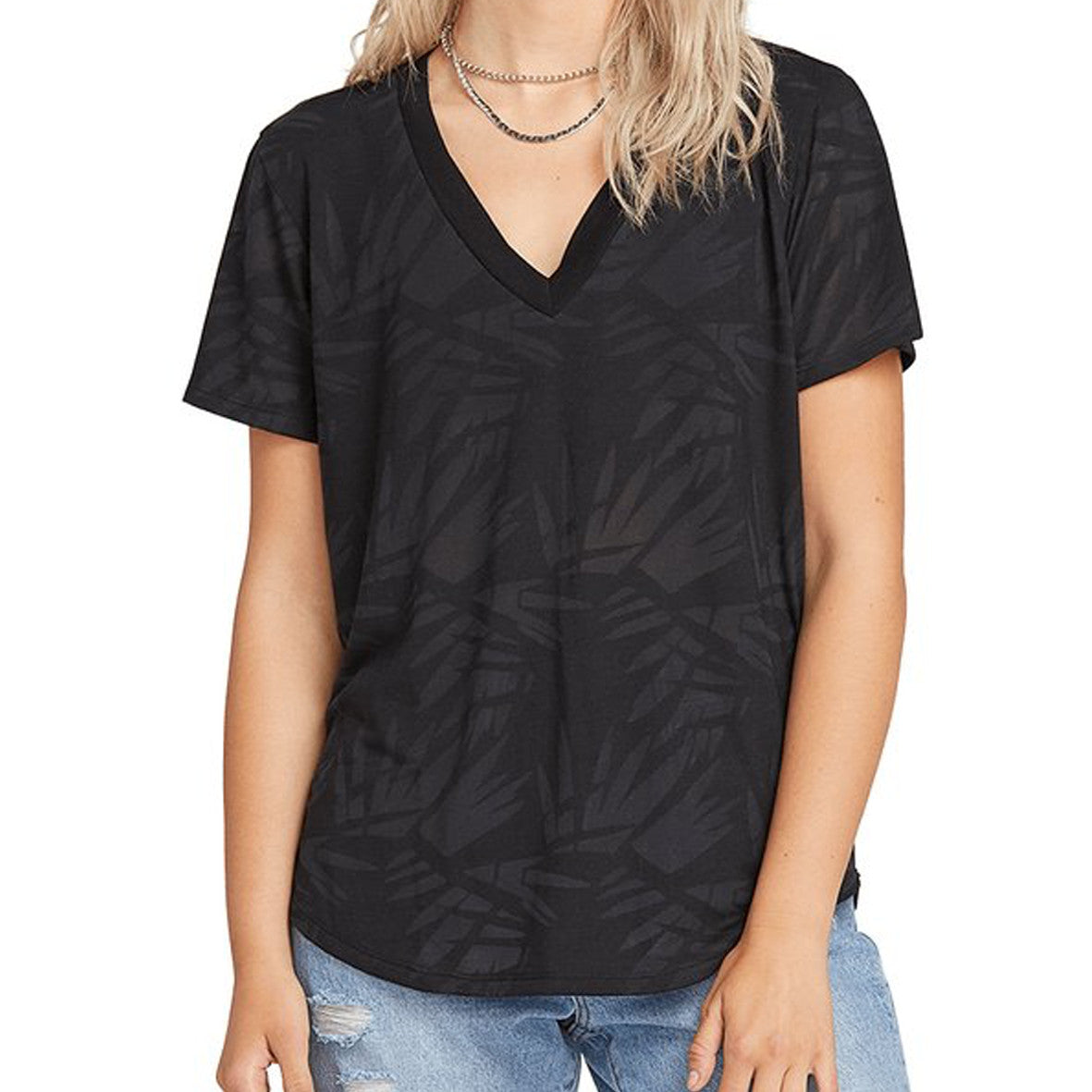 Womens Geo Arty V-neck T-Shirt Black