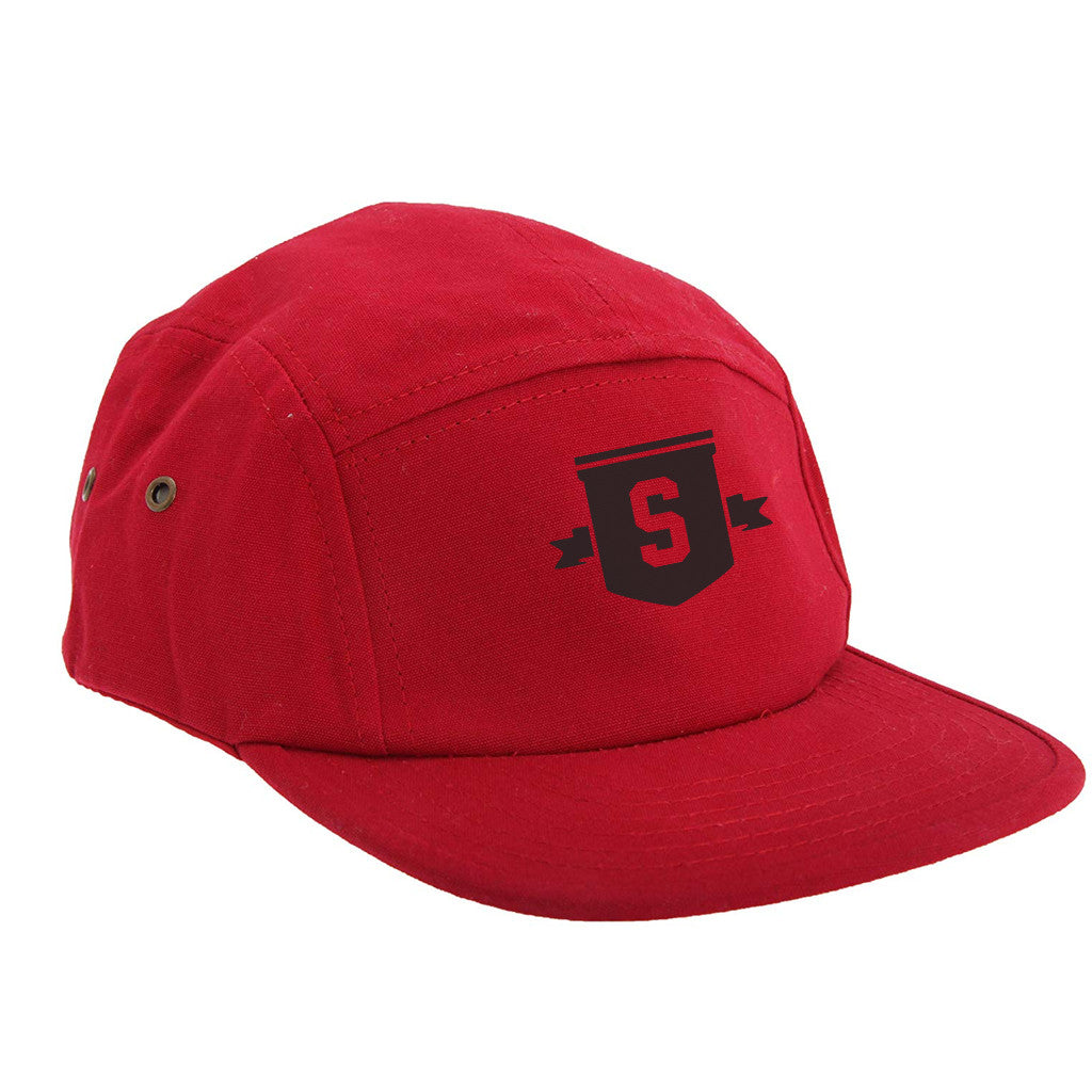 Black Shield 5 panel cap red