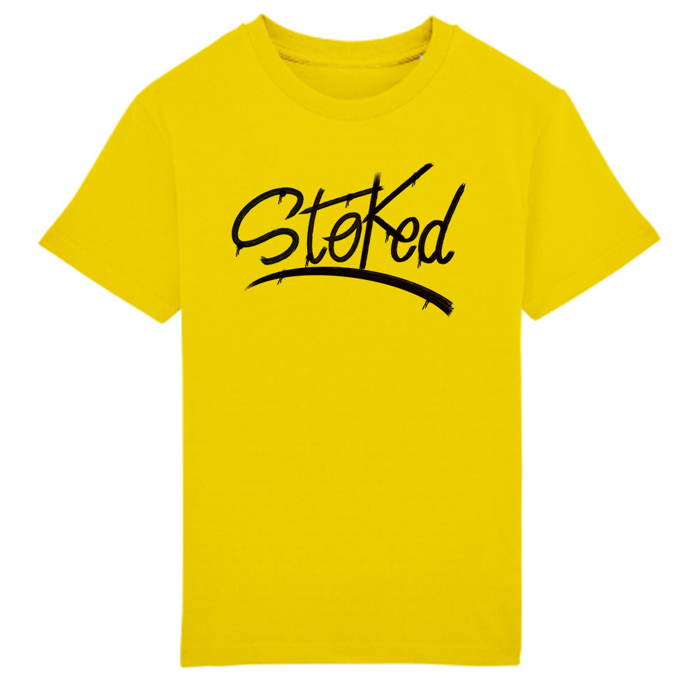 Youth Stoked sprayed yellow t-shirt