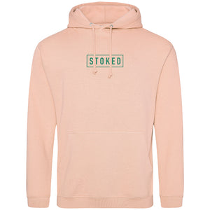 Box Logo Dark Mint Blue Hoodie Peach