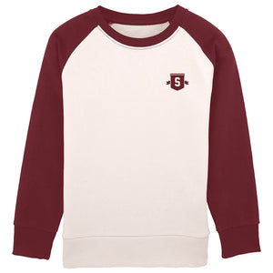 Youth Shield contrast sleeve crew burgundy