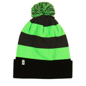 Stripe Rollover Electric Green Beanie - Stoked Boardshop
