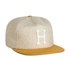 Wool classic H oatmeal/mustard strapback - Stoked Boardshop