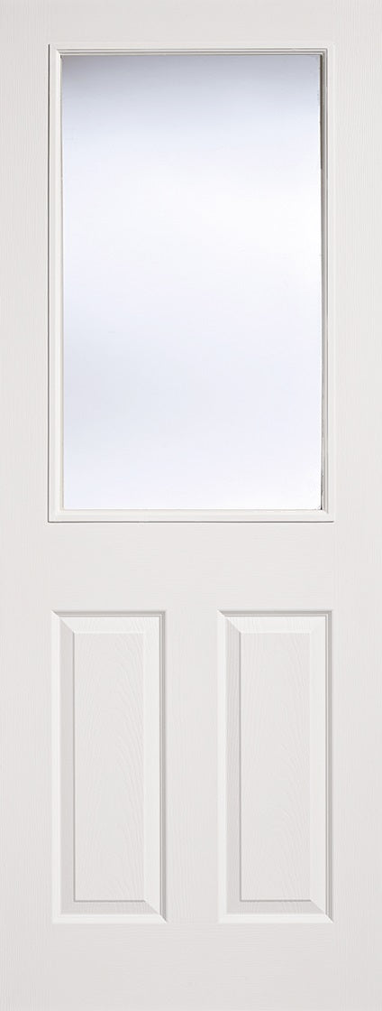 2  Panel 1 light, textured white primed door with clear glass.