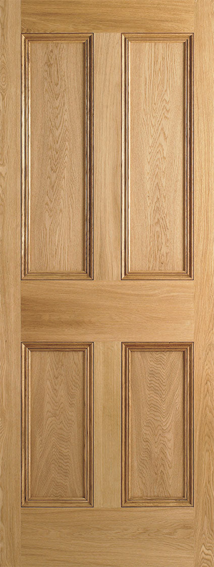 4 Panel Flat Unfinished internal Oak Door