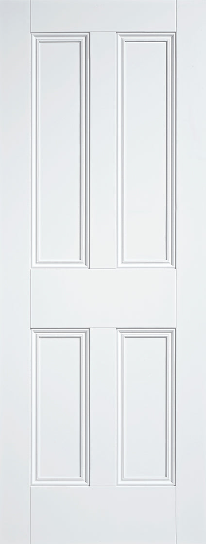 4 Flat panel door, primed white.
