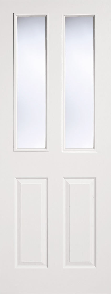 4 Panel moulded door. Primed white textured surface, Clear glass.