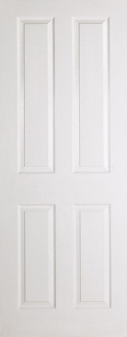 4 Panel white primed moulded internal door, textured finish.