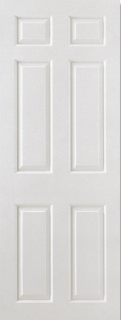 6 Panel smooth white moulded fire door