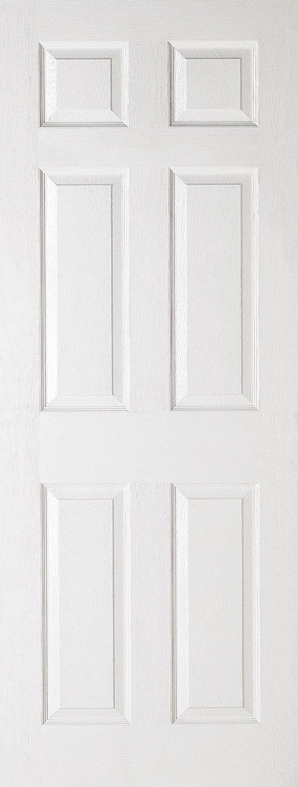 6 Panel colonial white textured moulded fire door