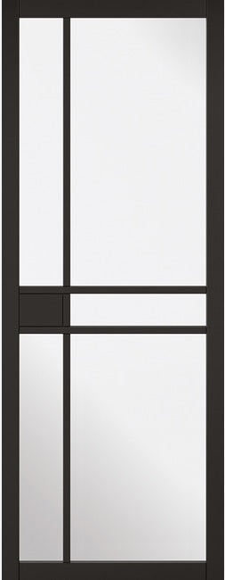 Greenwich black primed internal door with clear glass.