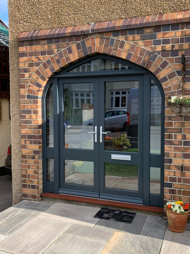 French doors with arched frame & sidelights, bespoke