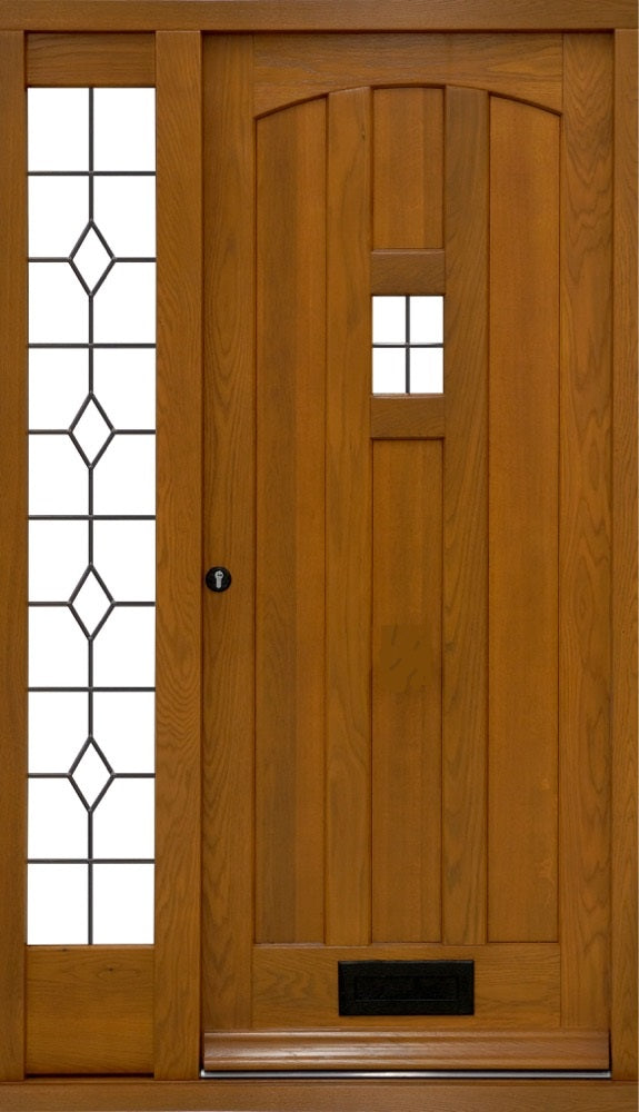 Modern grooved door with sidelights, bespoke