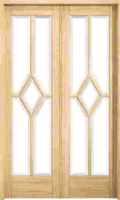Reims Oak room divider-Clear glass