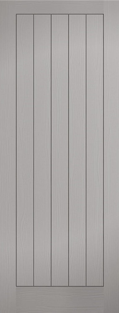 Grey Vertical Panelled Textured Pre-Finished Fire Door