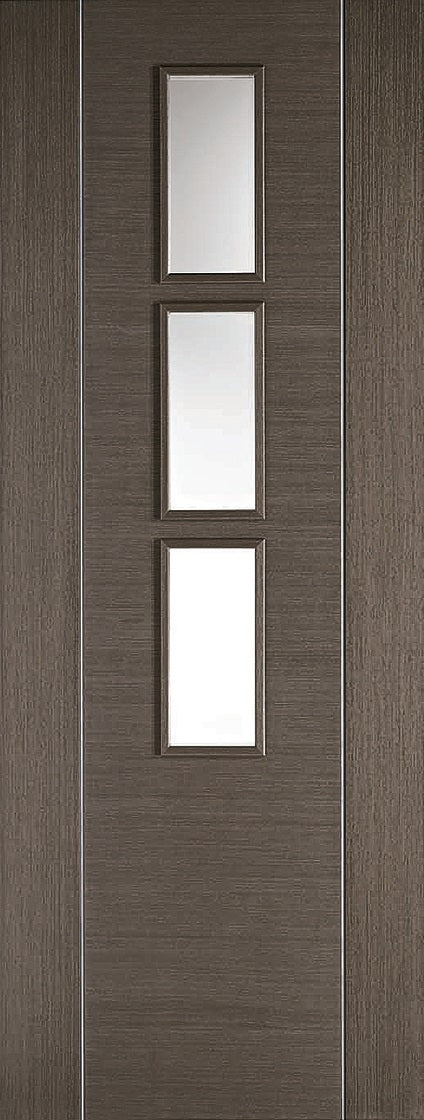 Alcaraz chocolate grey prefinshed internal door., with clear glass.