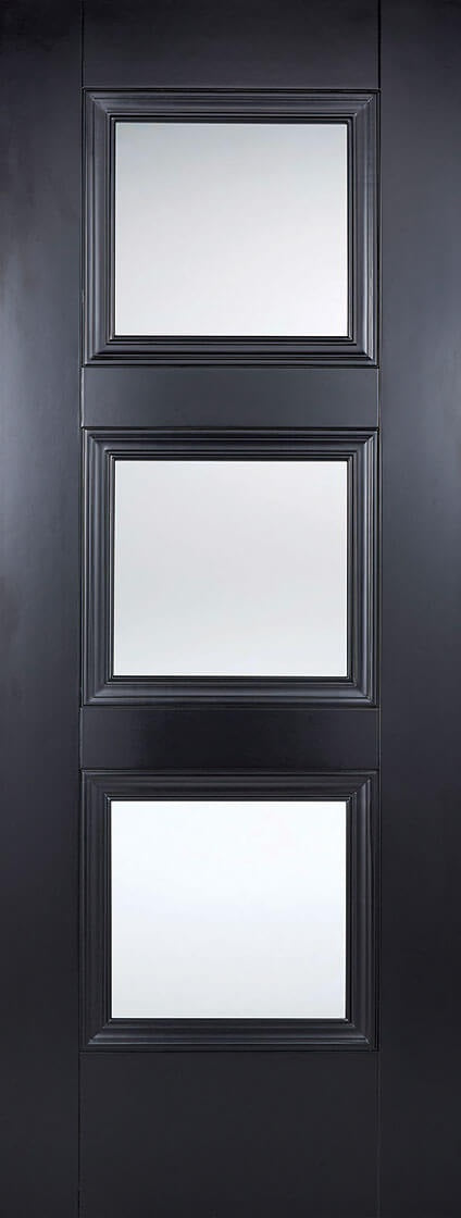 Amsterdam 3 light preglazed door, primed black.