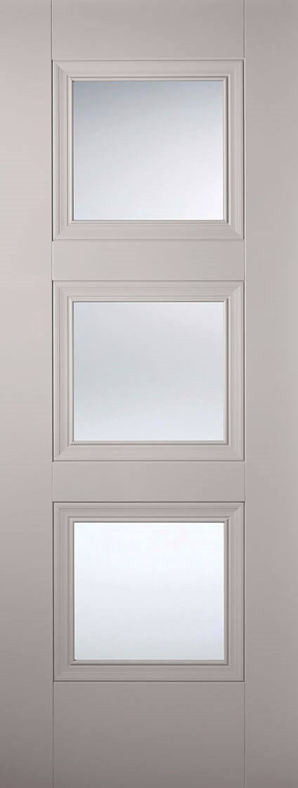 Amsterdam 3 light preglazed door, primed light grey.
