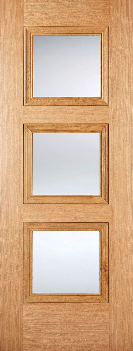 Richmond 4 Panel Oak Unfinished Clear Bevelled Glass