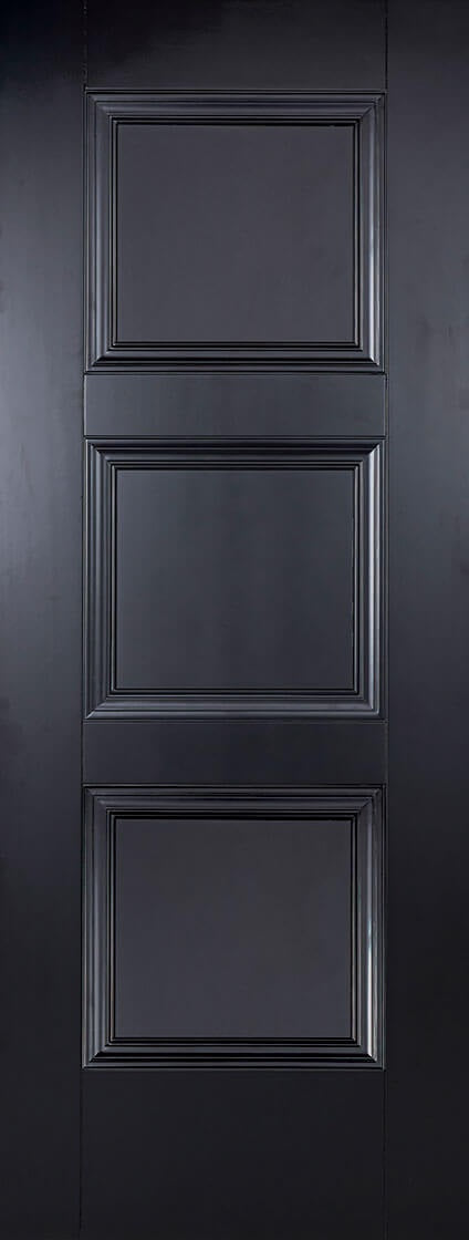 Amsterdam 3 panel black primed internal door.