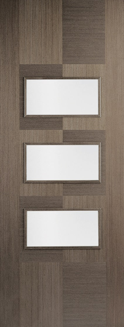 Mayfair 4 Panel White Moulded Internal Door,Frosted Glass With Clear Border