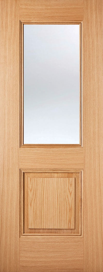 Pesaro Pre Finished Oak Door With Clear Glass
