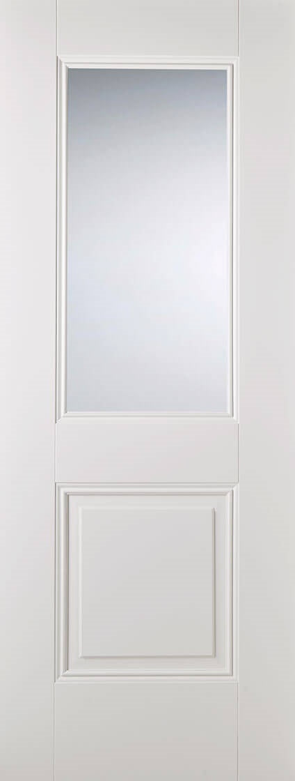 Mayfair 4 Panel White Moulded Frosted Glass With Clear Border
