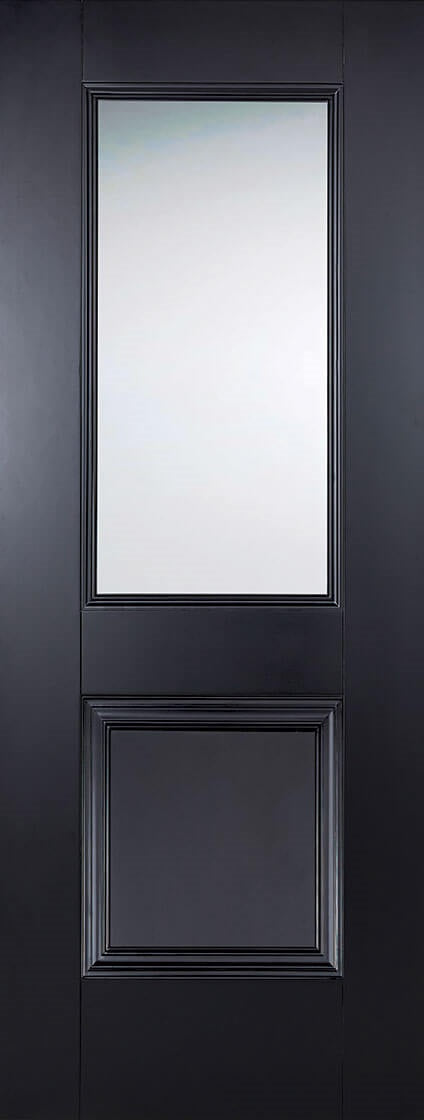 Victorian 4 Panel White Primed Moulded Door With Clear Glass