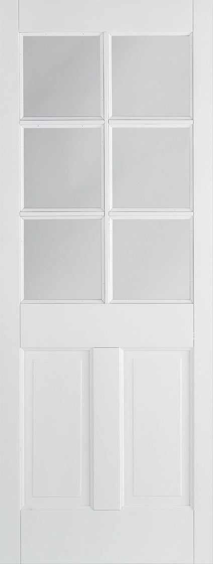 Canterbury solid core 6 light Internal door, with clear glass.