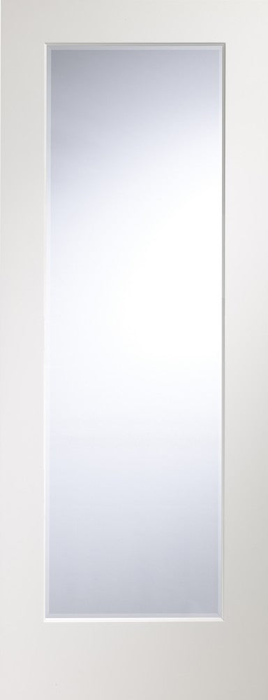 Cesena prefished white Internal door with clear bevelled glass.