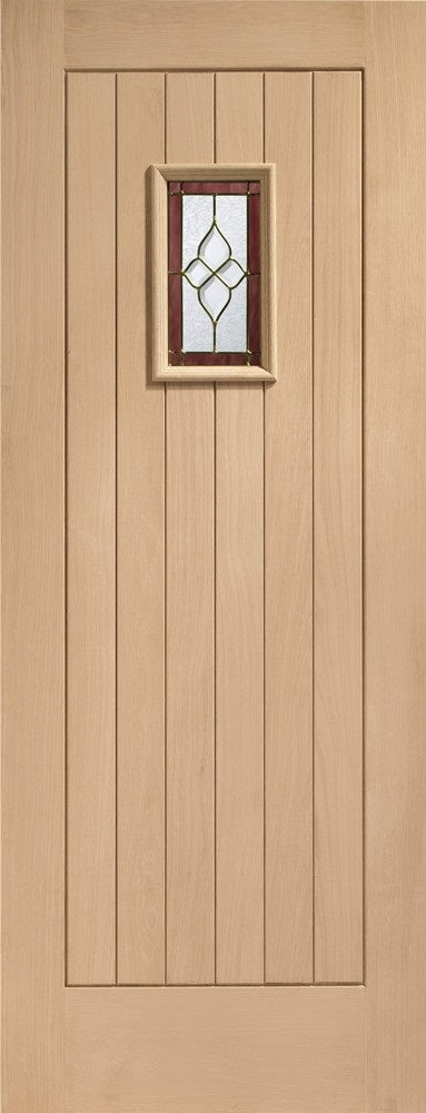 Chancery External oak door, triple glazed with brass camings.