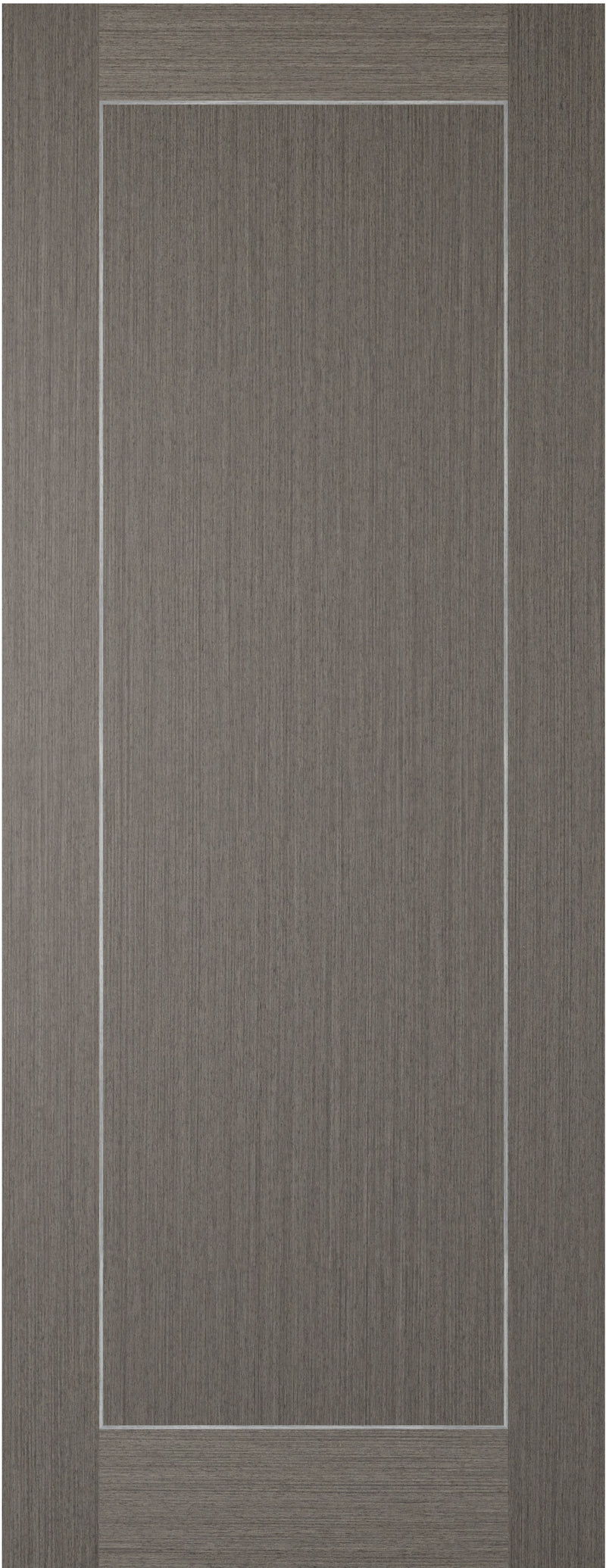 Chocolate grey 1 panel inlay fire door.