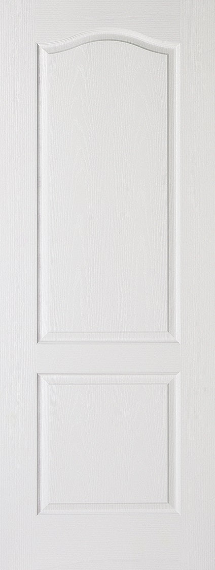 Classical 2 panel white primed internal door.