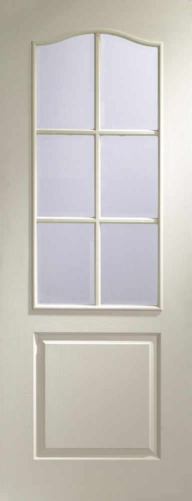 Classique whie primed grained finish, with clear bevelled glass.