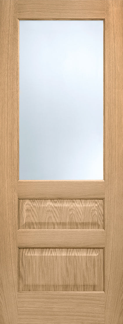 Contemporary 3 panel glazed internal prefinished door,