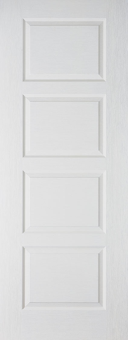 Contemporary 4 panel Textured white moulded solid core fire door