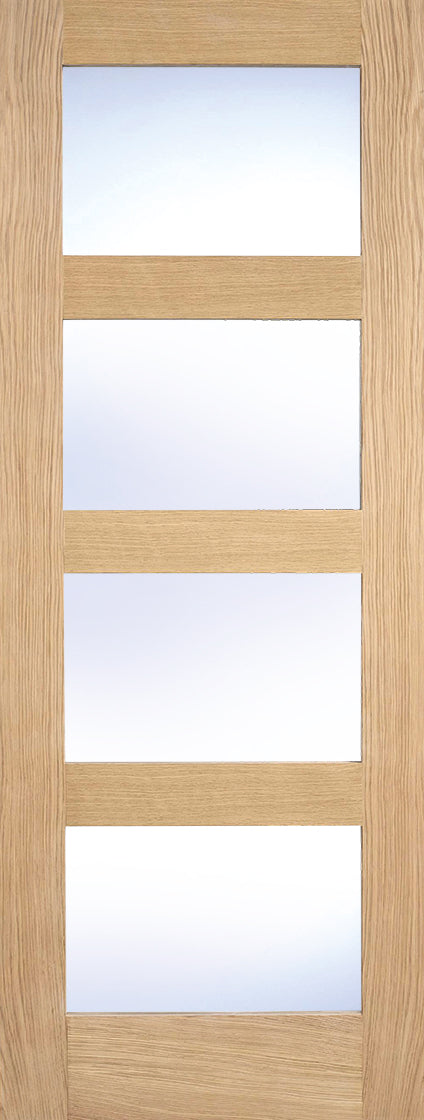 Contemporary Shaker 4 panel clear glazed internal door, unfinished