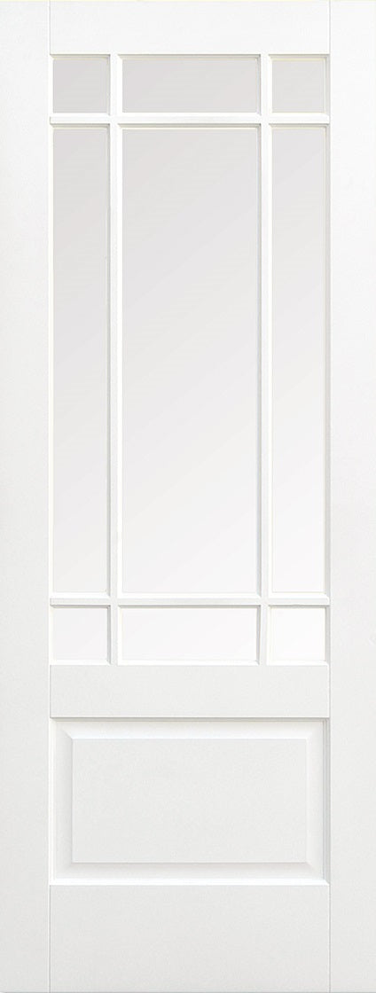 Downham solid core, primed white with clear bevelled glass.