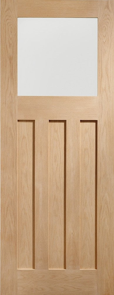 Shaker 4 Light Oak Unfinished Rebated Pair Clear Glass