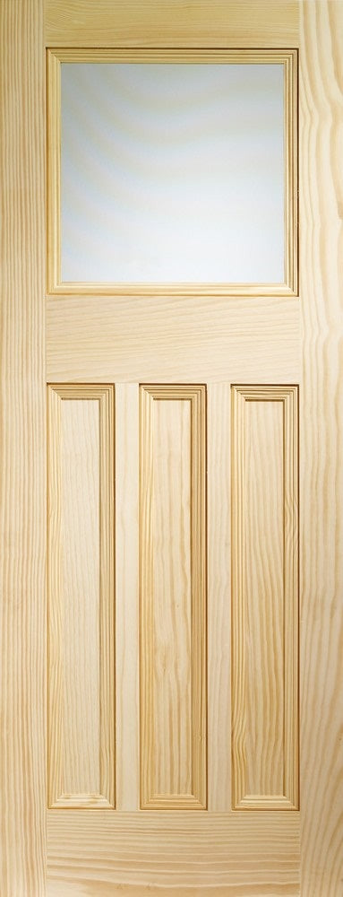 DX 1930 vertical grain clear pine door, with frosted glass.