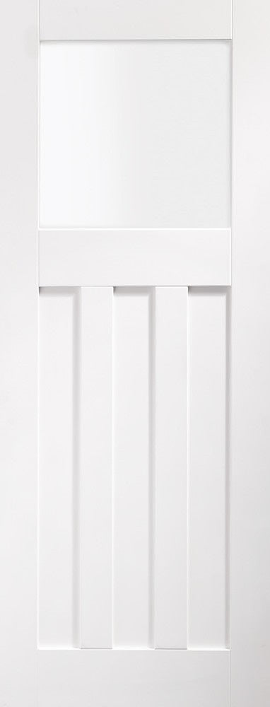Manhattan Primed White W8 Room Divider Clear Bevelled