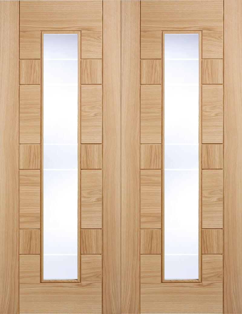 Edmondton Oak Prefinished Rebated Pair Clear Glass With Frosted Lines