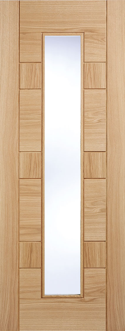Edmonton prefinished internal oak door, 1 Light clear glass.