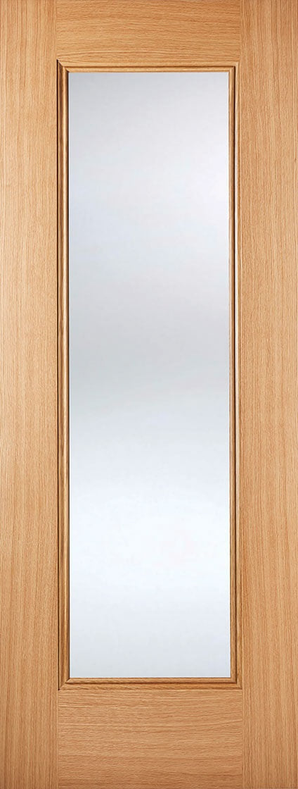 Eindhoven 1 light oak internal door, clear glass.